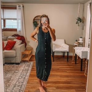 Bohme black long maxi dress with buttons